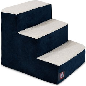 Majestic Pet Villa Dog & Cat Stairs, Navy, 3 Step; When your curious companion needs a little boost, reach for the stairs! The Majestic Pet Villa Dog & Cat Stairs help your pet access all his favorite sofa tops, comfy chairs and hard-to-reach spots. The chic machine-washable slipcover makes for a stylish addition to any home, while the stairs themselves are made of heavy-duty-yet-lightweight material that can support up to 250 pounds of weight. What's more, these steps feature sherpa cushions that help reduce risk of injury to senior, arthritic or recovering furry friends who may have weak legs and bones. Portable, durable, practical and fashionable – the Majestic Pet Villa Dog & Cat Stairs are your pet's all-access pass!