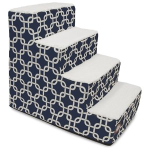 Majestic Pet Links Dog & Cat Stairs, Navy Blue, 4 Step; The Majestic Pet Links Dog & Cat Stairs are the missing link between your snuggle buddy and her favorite sofa spot. The chic machine-washable slipcover features an intricate link design, making these stairs a stylish addition to any home. The stairs themselves are made of heavy-duty-yet-lightweight material that can support up to 250 pounds of weight. What's more, they feature sherpa cushions that help reduce risk of injury to senior, arthritic or recovering furry friends who may have weak legs and bones. Portable, durable, practical and fashionable – the Majestic Pet Links Dog & Cat Stairs connect your pet to the best views in the house!