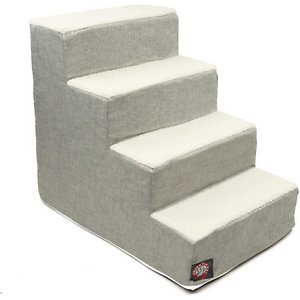 Majestic Pet Jackson Heathered Dog & Cat Stairs, Gray, 4 Step; Your playful pal will be a bona fide stair master when he's got the Majestic Pet Jackson Heathered Dog & Cat Stairs at his side. The chic machine-washable slipcover makes these stairs a stylish addition to any home, while the stairs themselves are made of heavy-duty-yet-lightweight material that can support up to 250 pounds of weight. What's more, they feature sherpa cushions that help reduce risk of injury to senior, arthritic or recovering furry friends who may have weak legs and bones. Portable, durable, practical and fashionable – the Majestic Pet Jackson Heathered Dog & Cat Stairs give your pet the best view in the house!
