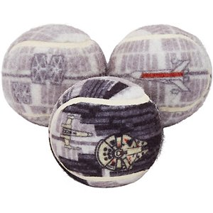 STAR WARS DEATH STAR Fetch Squeaky Tennis Ball Dog Toy, 3 count