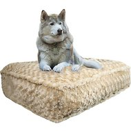 Bessie + Barnie Luxury Classy Plain Print Pillow Cat & Dog Bed w/Removable Cover, Gravel Stone, X-Large
