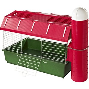 Kaytee Small Pet Barn Habitat & Hay Silo; Charm your furry friend with his own farm using the Kaytee Barn Habitat with Hay Silo. This barn habitat for small pets is designed to help keep life fun for your little guy. It features an attached hay-style silo where he can stash his favorite toys and an easy-open top for your convenience. This farm-themed habitat is designed for durability and equipped with locking wire tabs for security. The deep base helps prevent bedding from spilling out and no tools are required to assemble. It's the paw-fect place for your guinea pig, dwarf rabbit or other small animal to play.
