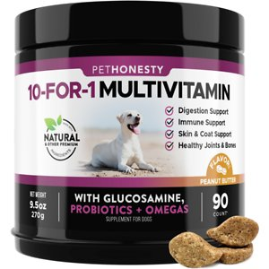 PetHonesty 10-in-1 Multivitamin with Glucosamine Peanut Butter Flavor Dog Supplement, 90 count