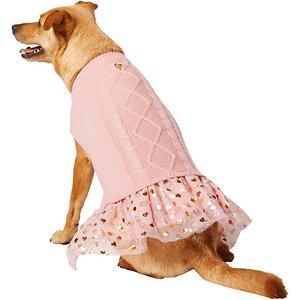Frisco Cable Knit Dog & Cat Sweater Dress,  Pink, Medium; Get the best of a sweater and a dress for your pet! This cable knit sweater and tulle dress combo is made of acrylic and polyester knit to keep your pet comfortable and warm, and it's got a pullover design that slips over your pet's head so it's easy to put on with no hook-and-loop straps or buttons. And with its gold accents, it will really make your pet pop during all your cold-weather fun.