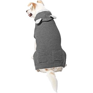 Frisco Bear Hooded Dog & Cat Sweater, XXX-Large; This pullover sweater features acrylic knit with a sherpa lined hood. It slips easily over your pet's head, which means no hook-and-loop straps or buttons needed! Plus, it's got a hood with adorable bear ear accents to keep your pet's head and ears warm when the temperature drops. It features a leash hole in the back so your pet can wear it during all your adventures, whether you're out on the town or setting up for a furry photo op.