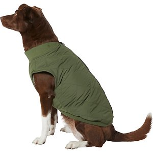 Frisco Lightweight Insulated Bomber Dog & Cat Jacket, Olive, Large; A classic bomber jacket doesn't just work for cool, casual humans. It works for your pets now, too. With a 100% polyester design that's lightweight and water-resistant, along with a cozy fleece inner lining, this jacket keeps your dog warm and dry while letting their skin breathe a bit as well. Add it to your pet's cold-weather wardrobe for an extra touch of timeless style.