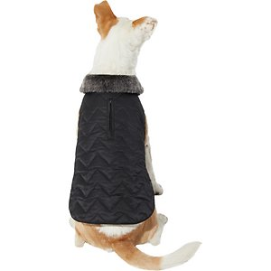 Frisco Chevron Insulated Quilted Dog & Cat Coat, Black, Small; This quilted, Chevron patterned coat with faux fur accents is perfect for fashion-forward pets! Its shell is made of water-resistant polyester with a soft, fleece lining that helps hold in your pet's body heat but also lets their skin breathe a bit. It's easy to put on with hook-and-loop fasteners at the neck and belly, with elastic cinching too, for a snug, comfortable fit.