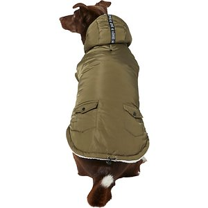 Frisco Love Insulated Dog & Cat Coat, Olive, Large; You and your pet are gonna love this cozy coat! It's made with a water-resistant polyester shell with a soft, plush lining to keep your pet warm and to let their skin breathe a bit. It's also hooded to keep their ears and head warm when they need it, and there's a snap on the back of it to keep it out of the way when they don't. And it has a cute ribbon accent, too.