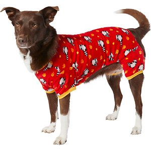 Frisco Dog & Cat Cozy Fleece PJs, Raccoons, XX-Large; Maximize your pet's coziness with these PJs you and your pet will both adore. They're made of soft, thick polyester with stretchy elastic on the belly and back legs for your pet's comfort, and they help limit excess shedding around the house by trapping their hair and dander. Plus, they've got an adorable raccoon pattern to keep your pet looking cute while they cozy up around the house and smile for their closeups during all your furry photo ops.