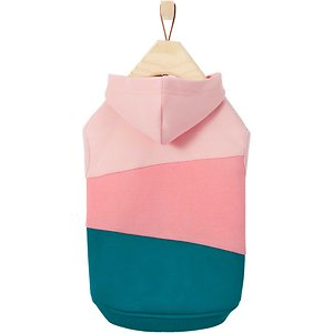 Frisco Colorblock Dog & Cat Hoodie, Pink/Teal, Large; Fall is in the air, so dress up your pooch or kitty with some hip, brightly colored flair. Every furry hipster's wardrobe has a go-to colorblock piece, and this one is designed to be as trendy as it's cozy. Made with stretch polyester fleece so it fits just right for cats and dogs alike, it's comfy to wear and adds a layer of warmth, too.