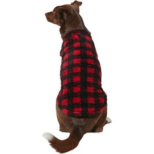 Frisco Plaid Dog & Cat Fleece Vest, Red Plaid, X-Large; A stylish fleece vest makes a great addition to anyone's cold-weather wardrobe, even your pet! These cozy, polyester fleece vests are made with stretchy, high-pile plush fleece material that work great as a standalone vest or layering piece to help your dog stay comfy through cold weather. They're also made with a pullover design, so there's no need to fumble with hook-and-loop fasteners or snaps. Plus, they come in two classic plaid patterns which is a staple of winter style!