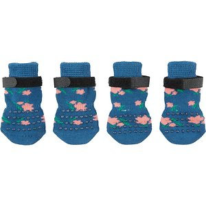 Frisco Floral Non-Skid Dog Socks, Size 1; Keep your pup's paws warm in the winter, and keep them from slipping and sliding on your indoor floors, with these non-slip, floral socks. They attach to your pup's paws snugly with hook-and-loop fasteners, so they stay put, but just in case they slide around a bit, they have non-slip dots on both sides so your pup won't lose traction. Plus, they're floral-patterned to fit your friend's taste for furry fashion.