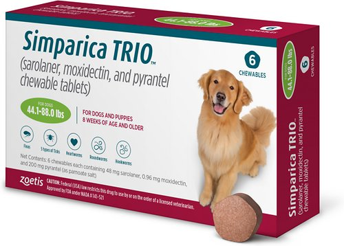 Simparica Trio Chewable Tablets for Dogs, 44.1-88 LB, 6 Treatments (Green Box)