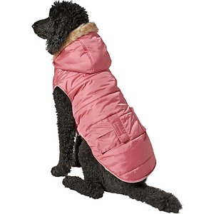 Frisco Portland Insulated Dog & Cat Parka, Dusty Pink, XXX-Large; Keep your furry hipster warm all winter without compromising on style. This pet parka is designed to protect your pet from chilly weather while keeping it chill. It's designed with a comfy plush lining to turn up the cozy and a detachable faux fur-lined hood for that wintry glam. A midrise collar provides more coverage for your pet's neck area from chilly conditions. The outer shell is water-resistant to protect from rain and light snow, and comes in trendy, satiny colors. Plus, it has a covered leash hole so you can easily access a collar underneath the parka.