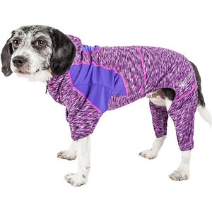 Pet Life Active Downward Dog Hoodie, Purple, Small; The Pet Life Active Downward Dog Hoodie is more than just cool looks—it's packed with features to keep your canine yogi comfy no matter what the adventure might be. The lightweight and quick-drying stretchy material moves with your pooch and helps maintain her body temperature, while the built-in anti-odor technology keeps your paw-tner smelling fresh. The ventilation points add breathability, and the stretch-banded lining expands to fit your buddy as she grows. This hoodie even offers UV protection against the sun's harmful rays. Plus, the leash-slit along the back makes it a cinch to take your exercise pal out for a stroll.
