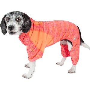 Pet Life Active Downward Dog Hoodie, Orange, Medium; The Pet Life Active Downward Dog Hoodie is more than just cool looks—it's packed with features to keep your canine yogi comfy no matter what the adventure might be. The lightweight and quick-drying stretchy material moves with your pooch and helps maintain her body temperature, while the built-in anti-odor technology keeps your paw-tner smelling fresh. The ventilation points add breathability, and the stretch-banded lining expands to fit your buddy as she grows. This hoodie even offers UV protection against the sun's harmful rays. Plus, the leash-slit along the back makes it a cinch to take your exercise pal out for a stroll.
