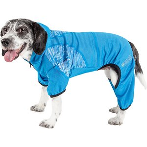 Pet Life Active Pawsterity Dog Hoodie, Blue, Large; The Pet Life Active Pawsterity Dog Hoodie offers style and function in one paw-some looser-cut hoodie. The stretchy fabric helps maintain your companion's body temperature no matter the weather because it's heavy enough for winter and cool enough for summer. This unique hoodie also features ventilation so it's breathable, while the special four-way stretch construction moves with your buddy in every direction for her comfort. It even offers UV protection against the sun's harmful rays. Plus, the leash-slit along the back makes it easy to take your stylish pup for a stroll.