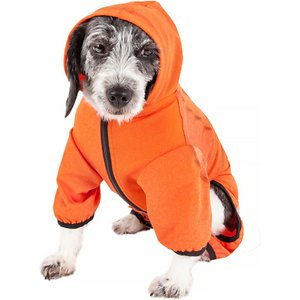 Pet Life Active Pawsterity Dog Hoodie, Orange, Large; The Pet Life Active Pawsterity Dog Hoodie offers style and function in one paw-some looser-cut hoodie. The stretchy fabric helps maintain your companion's body temperature no matter the weather because it's heavy enough for winter and cool enough for summer. This unique hoodie also features ventilation so it's breathable, while the special four-way stretch construction moves with your buddy in every direction for her comfort. It even offers UV protection against the sun's harmful rays. Plus, the leash-slit along the back makes it easy to take your stylish pup for a stroll.