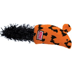 KONG Halloween Kickeroo Mouse Cat Toy; Your purring partner will get a real kick out of the KONG Halloween Kickeroo Mouse Cat Toy. With its fluffy tail and furry texture, it's even more fun than the real thing — especially since it's filled with catnip! It may not squeak, but its pleasing crinkling sound and enchanting catnip aroma will satisfy quite nicely just the same. Great for batting around, chewing, wrestling and other forms of play, it gives your kitty loads of exercise and fun at the same time.