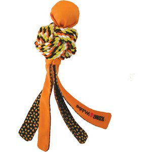 KONG Halloween Wubba Weaves Dog Toy; Is the KONG Halloween Wubba Weaves Dog Toy an octopus? A four-legged monster? Who cares when it's so much fun! This floppy, squeaky, brightly colored plaything is knot something your chewsy chum can ignore. And at the same time, its knotted cotton-rope body cleans her teeth and gums with every bite. Will she ever get tired of this awesome toy? Gnaw!