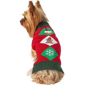 Frisco Holiday Argyle Dog & Cat Christmas Sweater, Large; Classic colors and a pleasing pattern to up your pet's festive, winter wardrobe! This pullover-style dog and cat sweater slips easily over your pet's head for a snug, comfy fit. It's made with acrylic knit that helps keep your pet cozy and warm when they really need it. Whether you're dressing up for a holiday paw-ty, getting ready for their closeup during a furry photo op or simply on a walk around town, this sweater will keep your pet feeling festive and fine!