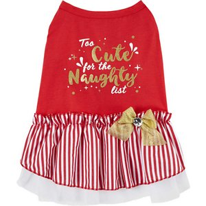 Frisco Too Cute for the Naughty List Dog & Cat Dress, Large; All pets are too cute for the naughty list. Show it with this dress! This slip-on-style dog and cat dress combines the comfort and ease of a pet shirt with the cuteness and flair of a dress. It's made with a polycotton blend that's breathable and comfortable for pets to wear, whether they're out for a walk, dressing for a paw-ty or getting ready for their closeup during a furry photo op.