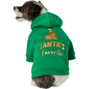Frisco Santa\\\'s Favorite Dog & Cat Hoodie, Large; We all know your pet was a perfect angel this year. They've got to be Santa's favorite! This pullover-style pet hoodie goes over your pet's head and fits nice and snug to keep them warm and comfortable when the temperature drops. With its gold, screenprinted design and sleeves too, it's not only cozy but cute! Plus, it has a leash hole in the back, so they can wear it all around town with you!