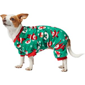 Frisco Jolly Christmas Dog & Cat Cozy Fleece PJs, X-Large; Make sure your pet has a jolly holiday season with some warm PJs! These cozy pajamas are made of thick, cozy polyester fleece to help hold in your pet's warmth, and they fit snug to help hold in excess shed hair and dander, keeping your home cleaner. Plus, with elastic at the belly and back legs, these PJs are sure to keep your pet loving the cozy comfort of their sleepwear!