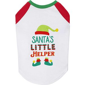 """Frisco Santa\\\'s Little Helper Dog & Cat T-shirt, XX-Large; Every pet deserves a special getup for the holidays! This festive, """"Santa's Little Helper"""" shirt is perfect for all your holiday adventures together. It's made with a breathable polycotton blend that has a little stretch to it to maximize your pet's comfort and cuteness at the same time, and it's designed to slip easily over your pet's head to quickly up your pet's winter wardrobe for furry photo ops, holiday paw-ties and everyday walks. Dress them up this winter with Frisco!"""
