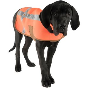 Carhartt Dog Safety Vest, Orange/Brown, Large; **Remember to measure your pet for the paw-fect fit.** Help keep your canine companion safe and visible with this Carhartt Dog Safety Vest! This bright orange vest has wide 3M silver reflective tape on the sides and over the back, so everyone sill see your pup coming, no matter what time of day. It's reinforced with cotton duck canvas binding and the main seams have a triple needle stitch for added durability and to help prevent fraying. Simply place it over your pup's head and secure it with the fuzzy fastener straps!