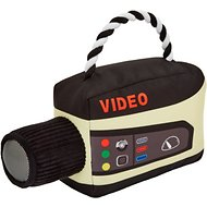 Frisco Retro Video Camera Ballistic Nylon Plush with Rope Squeaky Dog Toy