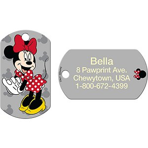 Quick-Tag Personalized Minnie Mouse Dog & Cat ID Tag, Large, Military Grey; Let your pet share the magic of Disney by wearing this Quick-Tag Military Minnie Mouse Dog & Cat ID Tag! Crafted from solid brass, this ID tag is laser engraved, ensuring your paw-tner's information stays clear and visible through endless days of play. And you get to choose up to four lines of paw-sonalized text—add her name, an emergency phone number, her address or even her medical conditions. Now, everyone will know who your furry friend is and they can safely get her back home in case she ever gets lost!