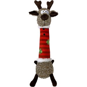 KONG Holiday Shakers Luvs Reindeer Dog Toy, Medium; The KONG Holiday Shakers Luvs Reindeer Dog Toy has escaped Santa's sleigh to make his way straight into your sweet pooch's heart. Sealed in an extremely durable coat to withstand vigorous play, this North Pole denizen is equally at home indoors and outdoors. And his squishy body invites enthusiastic chewing and chomping, especially since he both rattles and squeaks! He may well become your furry friend's most deer possession.