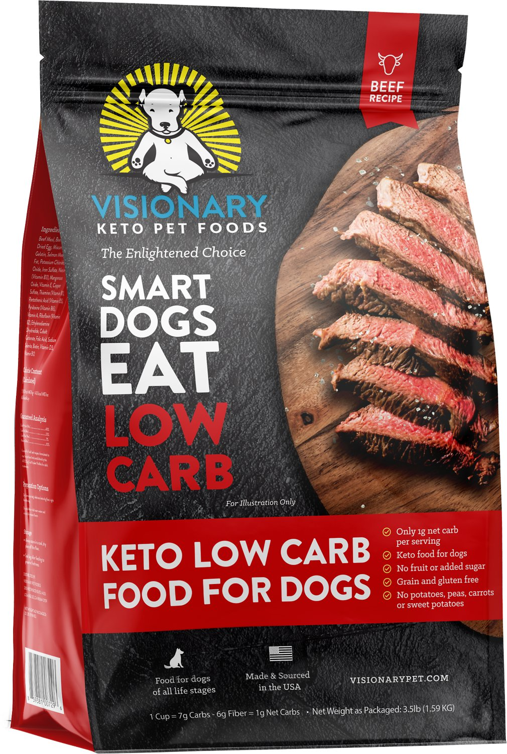 Visionary Pet Grain Free Low Carb High Protein Dog Food, Beef Flavor