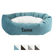 Majestic Pet Personalized Velvet Sherpa Bagel Dog Bed
