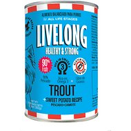 Livelong Healthy & Strong Trout & Sweet Potato Recipe Wet Dog Food, 12.8-oz can, case of 12