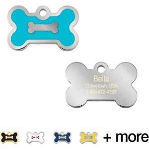 Quick-Tag Personalized Bone Epoxy Enameled Dog & Cat ID Tag, Turquoise, Small; Your furry friend is sure to stand out from the crowd wearing this Quick-Tag Personalized Bone Epoxy Enameled Dog & Cat ID Tag. This ID tag is laser engraved, ensuring your paw-tner's information stays clear and visible through endless days of play. And you get to choose up to four lines of paw-sonalized text—add her name, an emergency phone number, her address or even her medical conditions. Now, everyone will know who your furry friend is, so they can safely get her back home in case she ever gets lost!