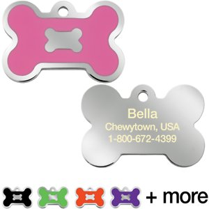 Quick-Tag Personalized Bone Epoxy Enameled Dog & Cat ID Tag, Pink, Large; Your furry friend is sure to stand out from the crowd wearing this Quick-Tag Personalized Bone Epoxy Enameled Dog & Cat ID Tag. This ID tag is laser engraved, ensuring your paw-tner's information stays clear and visible through endless days of play. And you get to choose up to four lines of paw-sonalized text—add her name, an emergency phone number, her address or even her medical conditions. Now, everyone will know who your furry friend is, so they can safely get her back home in case she ever gets lost!