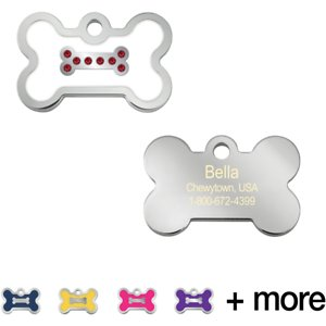 Quick-Tag Personalized Bone Epoxy Enameled Crystal Dog & Cat ID Tag, White, Small; Your furry friend is sure to stand out from the crowd wearing this Quick-Tag Personalized Bone Epoxy Enameled Crystal Dog & Cat ID Tag. This ID tag is laser engraved, ensuring your paw-tner's information stays clear and visible through endless days of play and it has crystals for some extra bling. Choose up to four lines of paw-sonalized text—add her name, an emergency phone number, her address or even her medical conditions. Now, everyone will know who your furry friend is, so they can safely get her back home in case she ever gets lost!