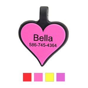 SiliDog The Silent Dog Tag Silicone Personalized Heart Dog & Cat ID Tag, Pink