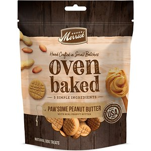 Merrick Oven Baked Paw'some Peanut Butter w/ Real Peanut Butter Dog Treats, 11-oz bag