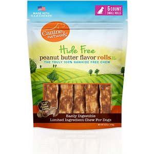 Canine Naturals Hide Free Peanut Butter Flavor Roll Dog Chew Treat, Small