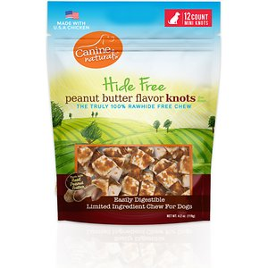 Canine Naturals Hide Free Peanut Butter Mini Knot Dog Chew Treat, 12 count
