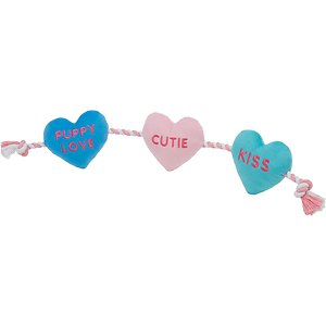 Frisco Valentine Candy Hearts Rope with Plush Squeaky Dog Toy