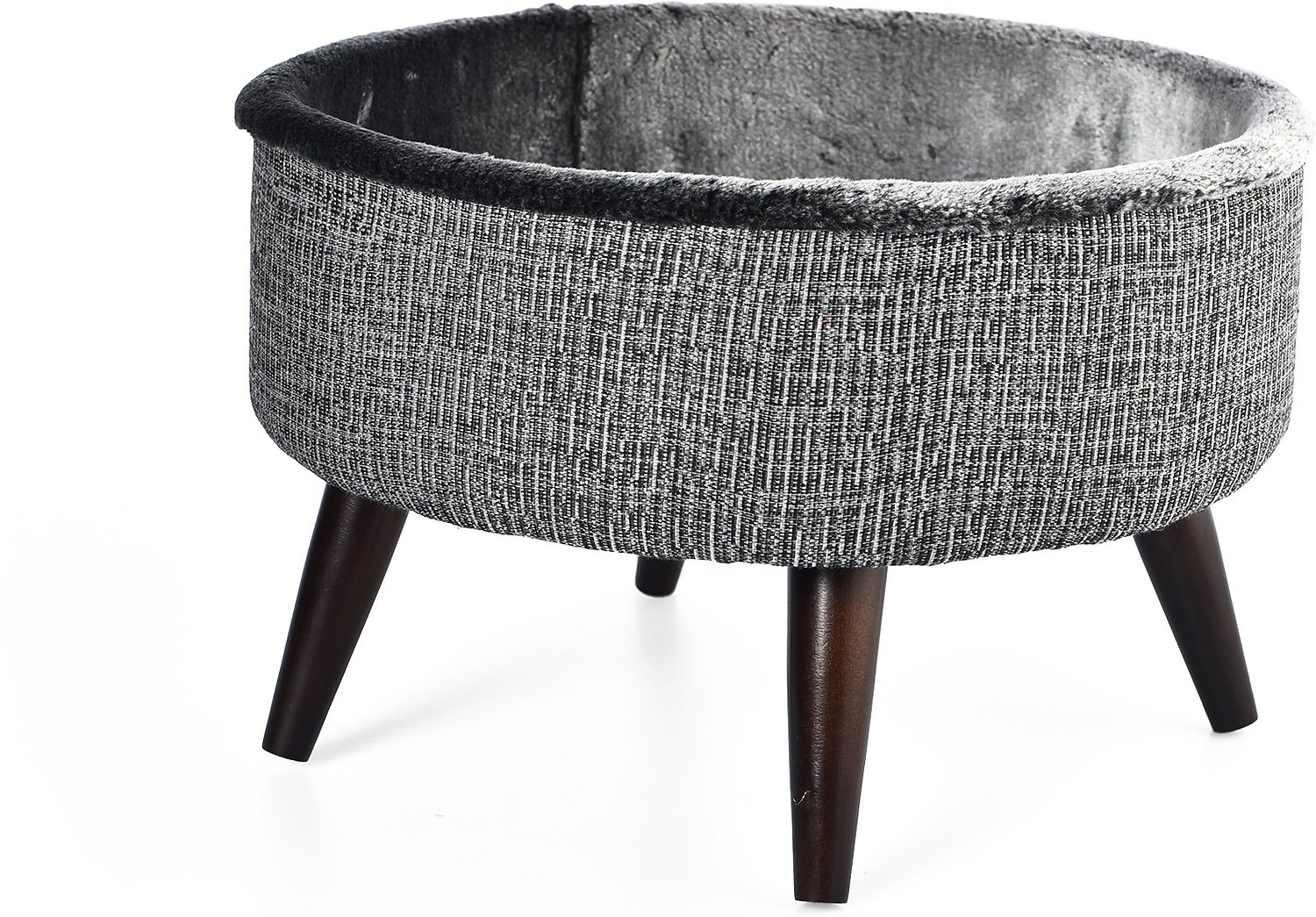 Cat Craft 16 In Round Bed Wooden Legs Elevated Cat Bed Grey Chewy Com