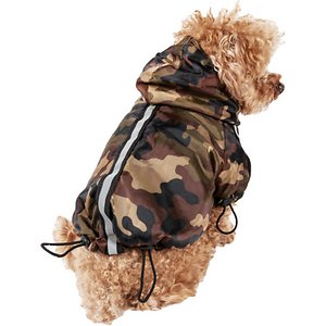 Pet Life Reflecta-Sport Adjustable Reflective Weather-Proof Dog Rainbreaker Jacket, Forest Camouflage, Large; Keep your sidekick safe from the elements with the Pet Life Reflecta-Sport Adjustable Reflective Weather-Proof Dog Rainbreaker Jacket. This weather-proof coat for dogs is paw-fect for use year-round and features a removable hood and lightweight fleece lining. It is crafted with adjustable sleeves as well as an adjustable hood and tail area. This windproof dog jacket is designed to be easy to get on and off using a hook and loop fastener around the belly. It's equipped with a reflective strip for visibility and a leash-slit holder along the backside for securing your sidekick.