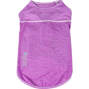 Pet Life Active Aero-Pawlse Heathered Quick-Dry 4-Way Stretch-Performance Dog T-Shirt, Maroon/Purple, Large; Get your sporty sidekick ready for his next challenge with the Pet Life Active Aero-Pawlse Heathered Quick-Dry 4-Way Stretch-Performance Dog T-Shirt. This quick-dry performance t-shirt for dogs is engineered with ultra-lightweight breathable fabrics that fuse together to help enhance mobility. It is crafted with four-way stretch construction to create a customized fit complete with quick-drying and anti-odor technology. This stretchy dog shirt features perforated panels along the bottom for strategic ventilation and breathability. It is designed in a pull-over style that provides UV protection and includes dual reinforced stitching and reflective taping to help keep your canine companion safe.