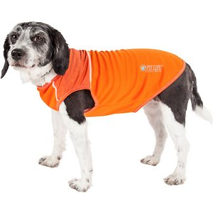 Pet Life Active Aero-Pawlse Heathered Quick-Dry 4-Way Stretch-Performance Dog T-Shirt, Orange, Medium; Get your sporty sidekick ready for his next challenge with the Pet Life Active Aero-Pawlse Heathered Quick-Dry 4-Way Stretch-Performance Dog T-Shirt. This quick-dry performance t-shirt for dogs is engineered with ultra-lightweight breathable fabrics that fuse together to help enhance mobility. It is crafted with four-way stretch construction to create a customized fit complete with quick-drying and anti-odor technology. This stretchy dog shirt features perforated panels along the bottom for strategic ventilation and breathability. It is designed in a pull-over style that provides UV protection and includes dual reinforced stitching and reflective taping to help keep your canine companion safe.