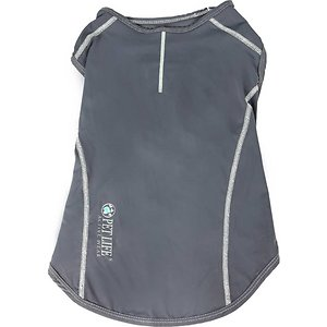 Pet Life Active Racerbark 4-Way Stretch Performance Active Dog T-Shirt, Grey, X-Large; Keep your amigo active with the Pet Life Active Racerbark 4-Way Stretch Performance Active Dog T-Shirt. This stretchy performance t-shirt for dogs is engineered with high-grade elastic fabrics for maximum mobility and comfort. It is crafted with four-way stretch construction to create a customized fit complete with quick-drying and anti-odor technology. This dog activewear shirt features specially formulated microfiber for exceptional breathability. It is designed in a pull-over style that provides UV protection and includes dual reinforced stitching and reflective taping to help keep your canine companion safe.