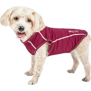 Pet Life Active Racerbark 4-Way Stretch Performance Active Dog T-Shirt, Maroon, Small; Keep your amigo active with the Pet Life Active Racerbark 4-Way Stretch Performance Active Dog T-Shirt. This stretchy performance t-shirt for dogs is engineered with high-grade elastic fabrics for maximum mobility and comfort. It is crafted with four-way stretch construction to create a customized fit complete with quick-drying and anti-odor technology. This dog activewear shirt features specially formulated microfiber for exceptional breathability. It is designed in a pull-over style that provides UV protection and includes dual reinforced stitching and reflective taping to help keep your canine companion safe.